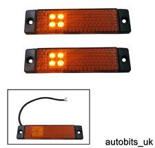 2 X ORANGE AMBER MARKER SIDE 4 LED LIGHT INDICATOR REFLECTOR VAN 24V 24 VOLT