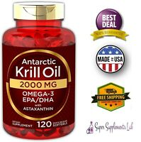 ANTARCTIC RED KRILL OIL 2000 mg 120 Softgel Capsules Omega 3 EPA DHA Astaxanthin