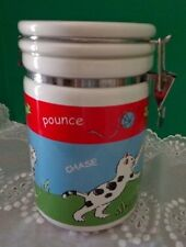 Cat Food Canister Cute Cat Container Riviera Van Beers Stoneware Meow Pounce