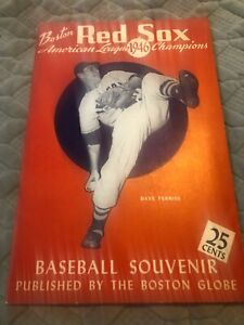 1946 Boston Globe Red Sox Souvenir Book AL Champions Ted Williams With Poster NM