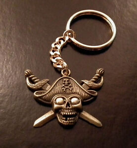 Hand Crafted Skull & Swords key ring key chain Biker Goth Pirate Fishing BN LGW