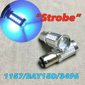 Strobe Front Turn Signal Light 1157 2057 3496 BAY15D Ice Blue LED Bulb W1 JA