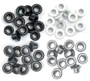 We R Memory Keepers standard grey grau weiß schwarz Eyelets 60 Stk. Ösen 41582-4