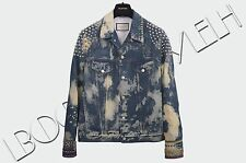 GUCCI 5250$ Authentic New Bleached Studded Tiger Embroidery Denim Jacket