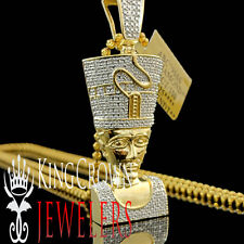 Genuine Diamond Nefertiti Pendant Egyptian Queen Pharaoh Charm 10K Gold Finish