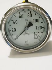 """Wiki industrial Pressure Gauge, 145 psi. Stainless,  4"""" face. DIN. Safety,  LBM"""