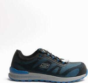 Skechers BULKLIN Mens Lace Up Composite Safety Toe Slip Resistant Trainers Blue