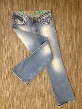 VIGOSS LIGHT WASH BOOT CUT Sz 8 LOW W STRETCH BOHO JEANS 31X31 EUC W92