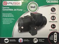 Utilitech 1/2-HP Cast Iron Deep Well Jet Pump Model # UT3121 New Lowes # 0036860