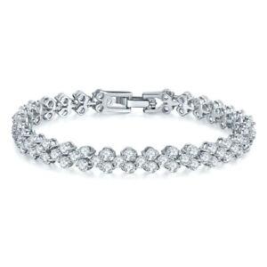 "Natural Shinny White Topaz Gems Women Jewelry Gift Silver Roman Bracelets 7.5"""