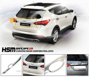 Chrome Trunk Rear Garnish Molding Trim for 2013 2017 Hyundai Santa Fe SPORT