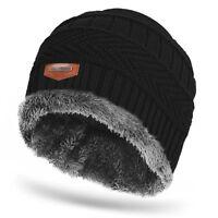 Mens Women Warm Winter Hat Thick Fleece Lining Cap Knit Beanie Baggy Ski Hats US