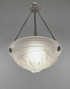 MULLER FRERES : FRENCH 1930 ART DECO CHANDELIER  lustre lamp suspension pendant