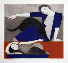 """WILL BARNET """"The Blue Robe"""" Singed Artist Proof Lithograph Print In Frame"""