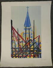 "Lihographie Originale RENEE HALPERN "" Paysage Et Pont ""  signée au crayon RH8"