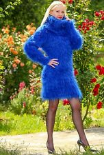 Supertanya blau hand knitted Mohair Pullover Fuzzy Boutique Handmade Sexy Kleid