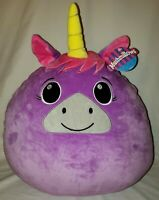"Mushmillows Plush Purple Pink Unicorn Stuffed Animal Pillow New NWT 18"" x 16"""