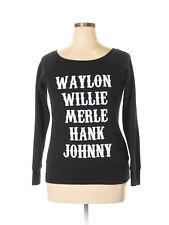 Modcloth Fleece Wide Ballet neck Sweatshirt XL Country Legends Waylon Willie