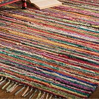FAIR TRADE RAG RUG HAND LOOM INDIAN 100 RECYCLED COTTON MULTI COLOUR 60 x 90cm