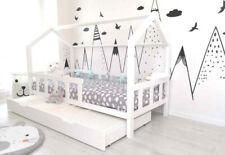Kinderhaus Weiss 90X200 Kinderbett mit Barriere. + Matratzenschublade