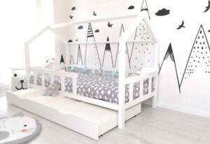 Kinderhaus Weiss 100X200 Kinderbett mit Barriere. + Matratzenschublade
