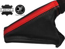 BLACK & RED LEATHER HANDBRAKE GAITER FITS VAUXHALL OPEL CORSA E 2014-2017