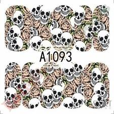 Halloween Skull & Rose Full Tip Nail Art Stickers Water Decals - Sheet No. A1093