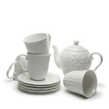 French Style White Porcelain Coffee Teapot Cup Mug Saucer Set Party Hightea