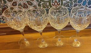 Stunning Set Of 4 Crystal Cut Glass Wine Goblets