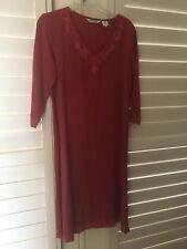 LN Orvis Rust Long Sleeve V Neck Embroidered Linen Midi Dress Size 6