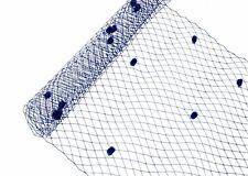 "1 Yard x 10"" Navy Blue Dot Russian Millinery Birdcage Veil Netting"
