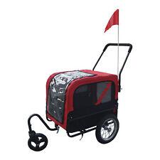 2 in 1 Pet Carrier Dog Bike Bicycle Trailer Stroller Jogging w/ Swivel Wheel