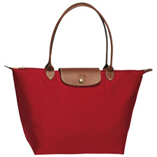 Authentic Longchamp Blood Red w/ Beige Large LE PLIAGE TOTE 1899 Nylon handbag