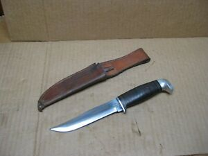 Vintage Case XX Fixed Blade Hunting Knife Leather Stacked Handle w/ Sheath