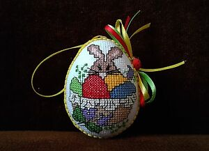 UNIQUE EASTER HAND MADE EMBROIDERY RABBIT ORNAMENTS LADYBUG  EGG