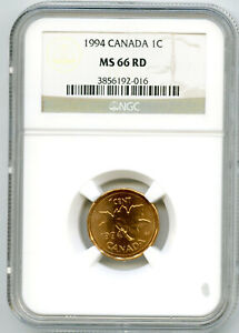 1994 CANADA ONE CENT NGC MS66 RD COPPER PENNY UNCIRCULATED COIN