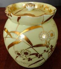 Bavarian Cameo Bisque Ceramic Gold Gilded Floral Design Sugar Bowl w/Lid, Rare