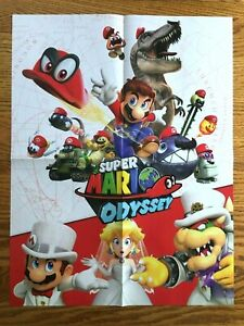Official Super Mario Odyssey 2-SIDED Poster Nintendo Switch Promo Authentic RARE