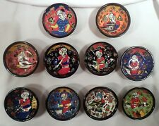 "Set of 10 Rare Turkish Hand-Made, Hand-Painted Finger Bowls, 3"" Diam., Colorful"