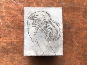 Antique PRINTERS BLOCK Woman with Pony Tail hairdo