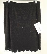 NWT St John Evening 6 Black Skirt Floral Embellishment Sheer Lined