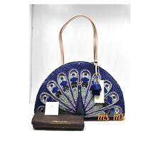 KATE SPADE Peacock Full Plume Straw Handbag Shoulder Bag NWT travel tote