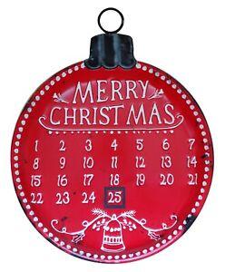 "Red Metal ""Merry Christmas"" Hanging Wall Advent Calendar Countdown Xmas"