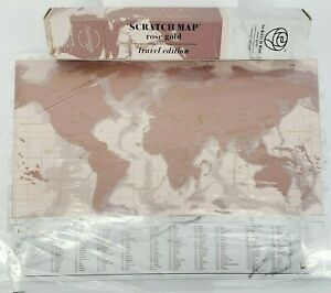 Luckies of London SCRATCH MAP Rose Gold Poster - Travel Edition 16.5 x 11.7 NEW