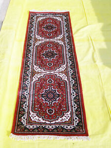 2'x6' Corridor Mat Hand Knotted Rug Red Silk Rugs Oriental Carpet Home Décor
