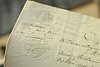 1831 Manuscript notary document black and white stamps signatures nice calligrap