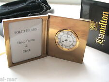 HAMILTON WATCH CO, SOLID BRASS PHOTO FRAME DESK CLOCK GIFT BOXED w/VELVET POUCH