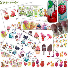 Summer 18pcs/set Cake Ice-cream Water Tattoos Nail Art Stickers Decals Colorful