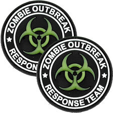 2x Tactical 3D PVC Morale Patch Zombie Outbreak Biohazard Military Green GLOW