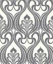 Grandeco Papel Pintado - Art Nouveau lujo damasco Carbón Metálico con purpurina